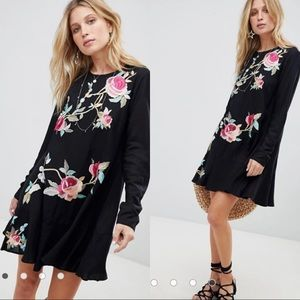 ASOS Black Floral Embroidered Drop Waist Dress